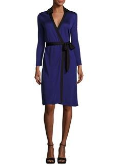 Diane von Furstenberg New Jeanne Wrap Dress w/Contrast Trim
