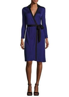 Diane von Furstenberg New Jeanne Wrap Dress w/Contrast Trim