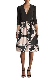 Diane von Furstenberg New Jewel Wrap Dress w/Mikado Skirt
