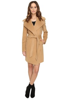 Diane von Furstenberg Nicole Drape Wool Wrap Multi Stitch Collar Coat