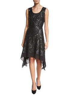 Diane von Furstenberg Nikkole Laser-Cut Leather Handkerchief-Hem Dress