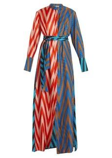 Diane Von Furstenberg Odeon Chevron-print silk satin-twill dress