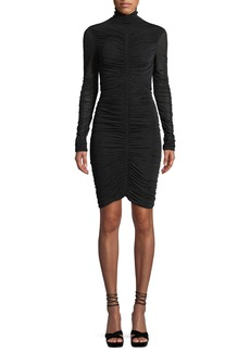 Diane von Furstenberg Olivia Turtleneck Long-Sleeve Ruched Mesh Mini Dress