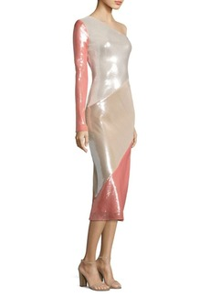 Diane von Furstenberg One-Shoulder Silk Midi Dress