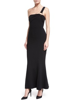 Diane von Furstenberg One-Shoulder Flounce-Hem Crepe Evening Gown