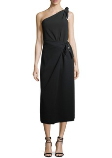 Diane von Furstenberg One-Shoulder Knot Scarf Midi Crepe Dress