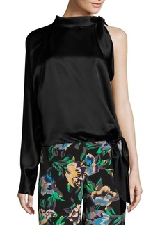 Diane Von Furstenberg One-Shoulder Knotted Blouse