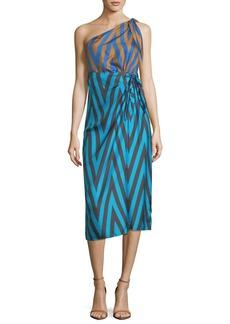 Diane von Furstenberg One-Shoulder Mix-Print Knot Scarf Dress
