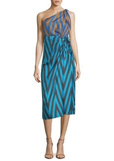 Diane von Furstenberg One-Shoulder Mix-Print Knot Scarf Dress