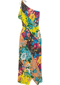 One-shoulder printed silk crepe de chine maxi dress