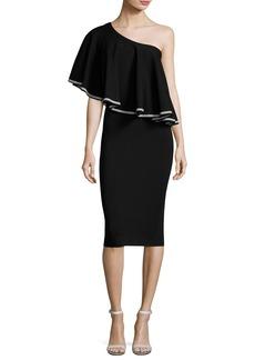 Diane von Furstenberg One-Shoulder Ruffle Front Midi Dress