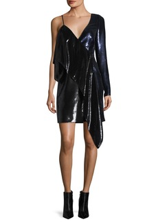 Diane von Furstenberg One-Shoulder Ruffle Sequin Mini Dress