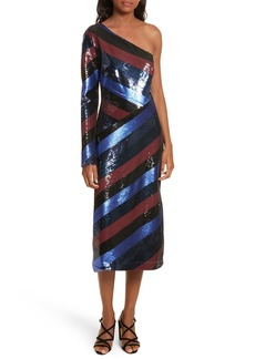 Diane von Furstenberg One-Shoulder Sequin Stripe Dress