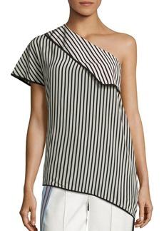 Diane von Furstenberg One Shoulder Side Slit Silk Blouse