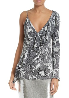 Diane von Furstenberg One-Shoulder Silk Blouse