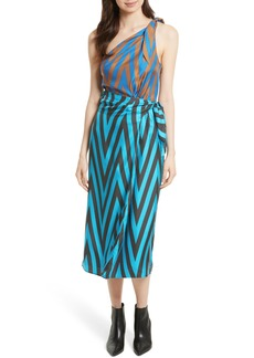 Diane von Furstenberg One-Shoulder Silk Scarf Dress