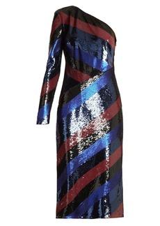 Diane Von Furstenberg One-shoulder striped sequin dress