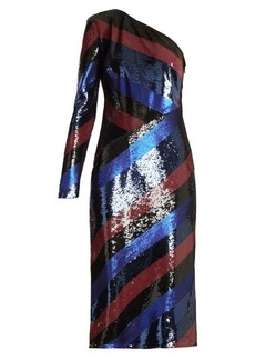 Diane Von Furstenberg One-shoulder striped sequin dress