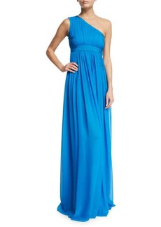 Diane von Furstenberg Ophelia Ruched Silk One-Shoulder Gown