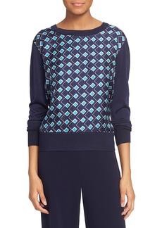 Diane von Furstenberg 'Orla' Print Woven Front Crewneck Sweater