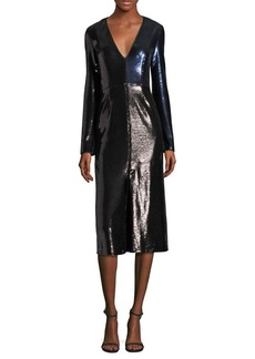 Diane Von Furstenberg Paneled Metallic Sequined Dress