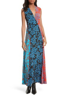 Diane von Furstenberg Paneled Print Silk Maxi Dress