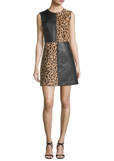 Diane von Furstenberg Paneled Sleeveless Crewneck Leopard-Print Leather Mini Dress