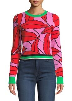 Diane von Furstenberg Paskavan Leaf-Print Cropped Sweater