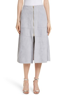 Diane von Furstenberg Patch Pocket Suede Midi Skirt