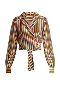 Diane Von Furstenberg Paxton striped silk cropped blouse