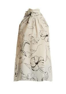 Diane Von Furstenberg Pelier-print silk crepe de Chine halterneck top
