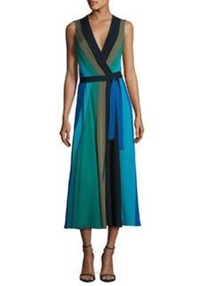 Diane von Furstenberg Penelope Colorblock Wrap Silk Jersey Maxi Dress