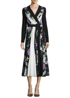 Diane von Furstenberg Penelope Floral & Colorblock Silk Wrap Dress