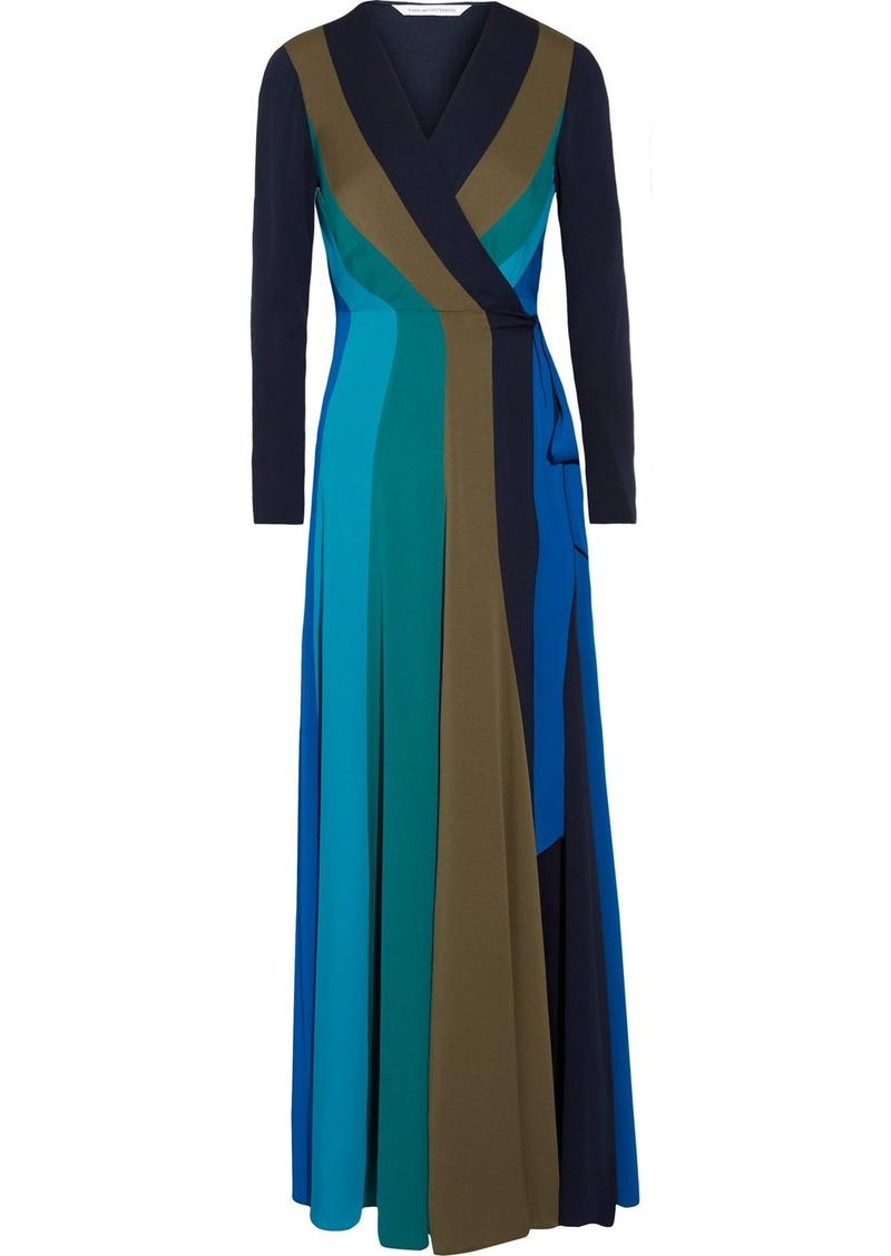 e5cb57484ee Diane von Furstenberg Penelope paneled stretch-silk wrap maxi dress