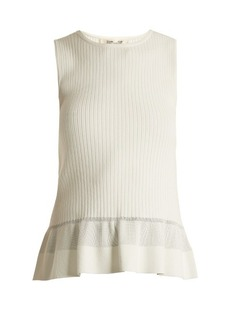 Diane Von Furstenberg Peplum ribbed-jersey top