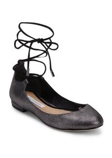 Diane von Furstenberg Pewter Lace-Up Ballet Flats