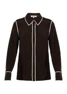 Diane Von Furstenberg Piped-edge silk-crepe shirt