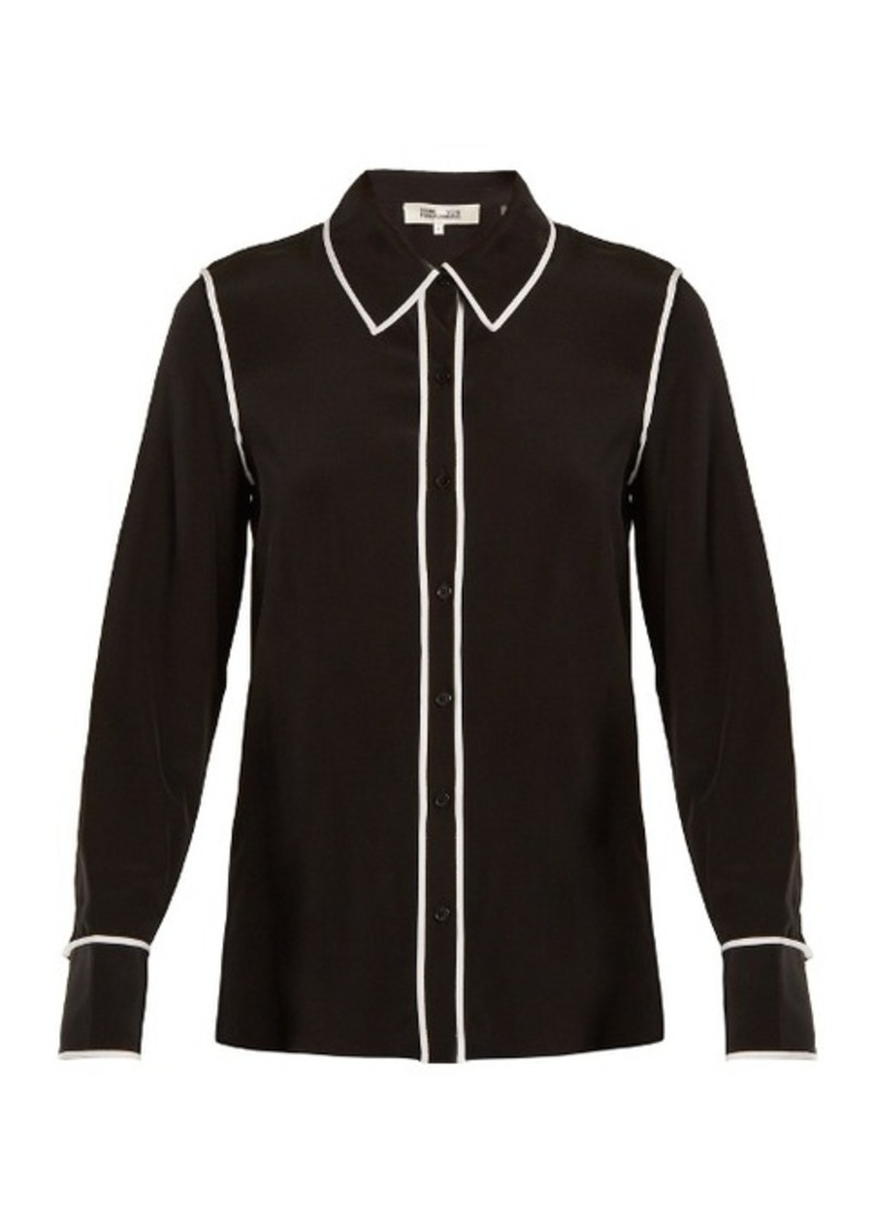 Diane Von Furstenberg Piped-edge silk-crepe shirt