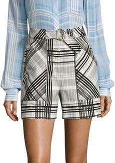 Diane Von Furstenberg Plaid High-Waist Shorts