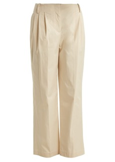 Diane Von Furstenberg Pleat-front cotton-poplin trousers