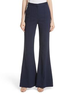 Diane von Furstenberg Pleat Front Flare Stretch Linen Blend Pants