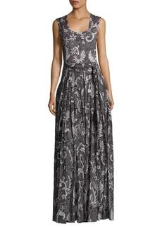 Diane von Furstenberg Pleated Silk Blend Gown