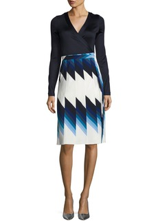 Diane von Furstenberg Pleated Silk Wrap Dress