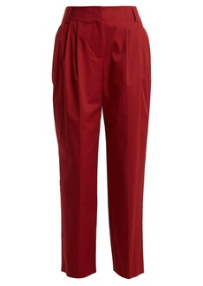 Diane Von Furstenberg Pleated stretch-cotton trousers
