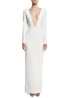 Diane von Furstenberg Plunging V-Neck Long-Sleeve Tailored Gown