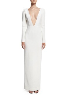 Diane von Furstenberg Plunging V-Neck Long-Sleeve Tailored Gown