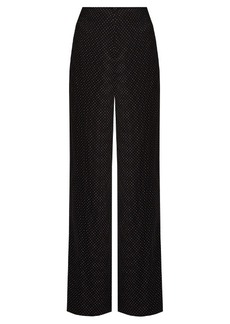 Diane Von Furstenberg Polka-dot print stretch-silk wide-leg trousers