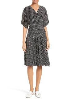 Diane von Furstenberg Polka Dot Silk D-Ring Wrap Dress