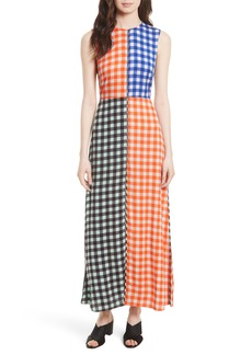 Diane von Furstenberg Print Block Stretch Silk Maxi Dress