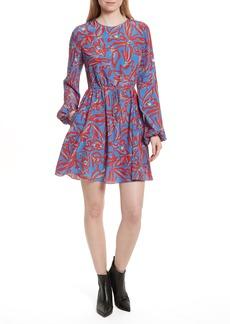 Diane von Furstenberg Print Silk Drawstring Minidress